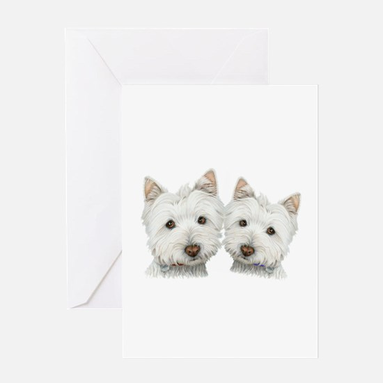 Two Cute West Highland White Dogs Greeting Card