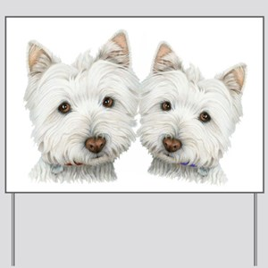 Two Cute West Highland White Dogs Yard Sign