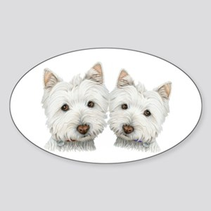 Two Cute West Highland White Dogs Sticker (Oval)