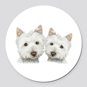 Two Cute West Highland White Dogs Round Car Magnet