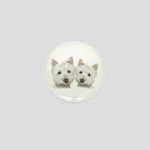 Two Cute West Highland White Dogs Mini Button