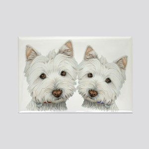 Two Cute West Highland White Dogs Rectangle Magnet