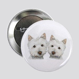 """Two Cute West Highland White Dogs 2.25"""" Butto"""