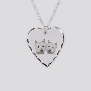 Two Cute West Highland White Dogs Necklace Heart C