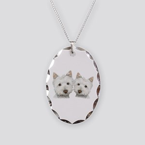 Two Cute West Highland White Dogs Necklace Oval Ch