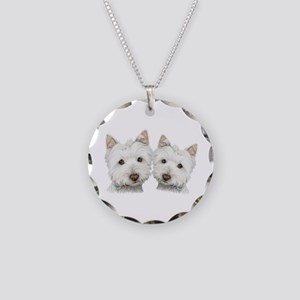 Two Cute West Highland White Dogs Necklace Circle