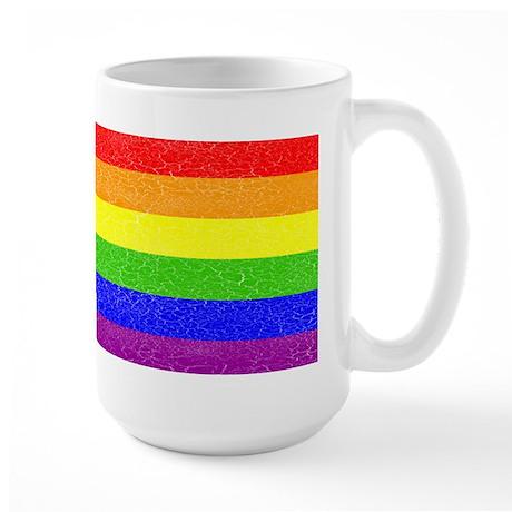 Distressed Rainbow Pride Large Mug