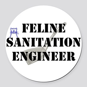 Feline Sanitation Engineer Round Car Magnet