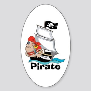 Pirate Boat Oval Sticker