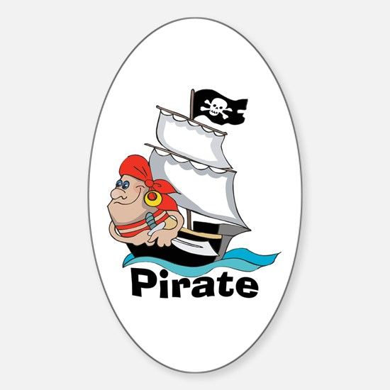 Pirate Boat Oval Decal