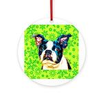 Boston Terrier Dog Round Ornament