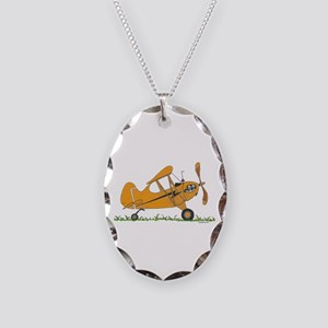Cub Airplane Necklace Oval Charm