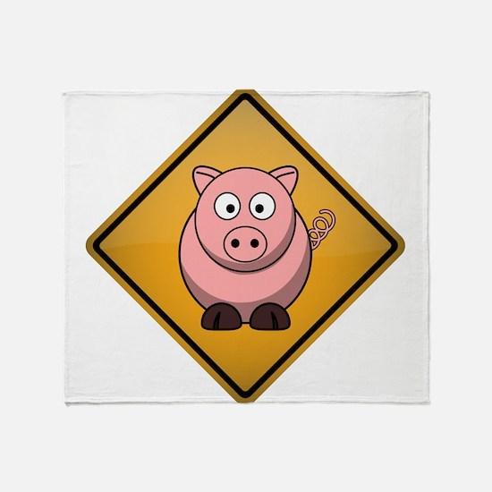 Pig Warning Sign Throw Blanket