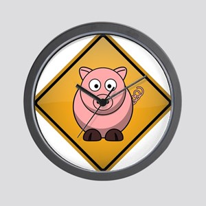 Pig Warning Sign Wall Clock