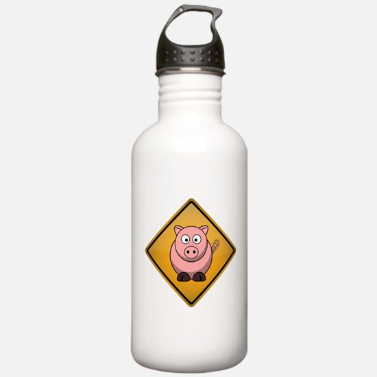 Pig Warning Sign Water Bottle