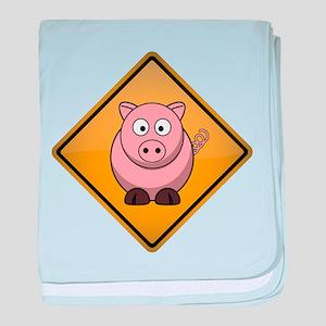 Pig Warning Sign baby blanket