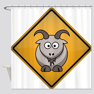 Goat Warning Sign Shower Curtain