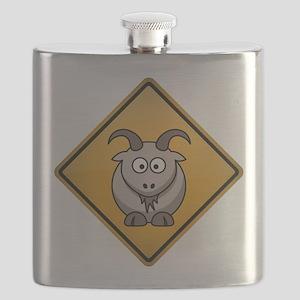 Goat Warning Sign Flask