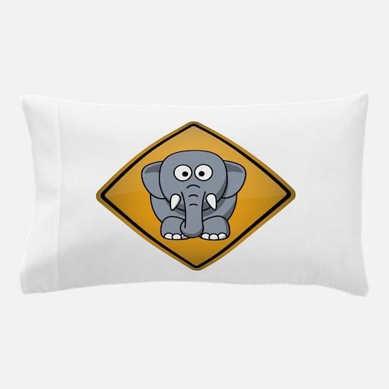 Elephant Warning Sign Pillow Case
