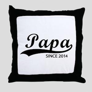 Papa since 2014 Throw Pillow