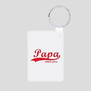 Papa since 2012 Aluminum Photo Keychain