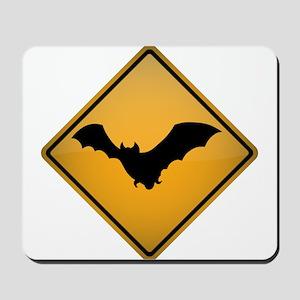Bat Warning Sign Mousepad