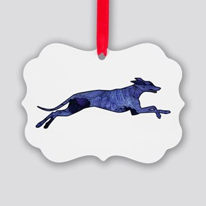 Greyhound Silhouette Fractal Picture Ornament