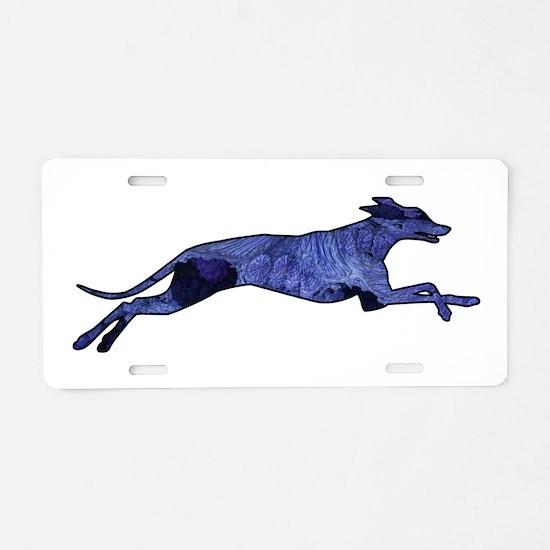 Greyhound Silhouette Fractal Aluminum License Plat