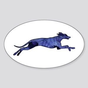 Greyhound Silhouette Fractal Sticker (Oval)