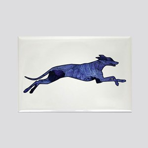 Greyhound Silhouette Fractal Rectangle Magnet
