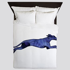 Greyhound Silhouette Fractal Queen Duvet