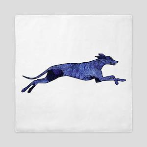 Greyhound Silhouette Fractal Queen Duvet