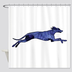 Greyhound Silhouette Fractal Shower Curtain