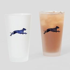 Greyhound Silhouette Fractal Drinking Glass