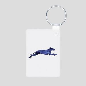 Greyhound Silhouette Fractal Aluminum Photo Keycha