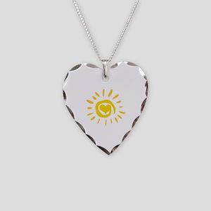 Sun Necklace Heart Charm