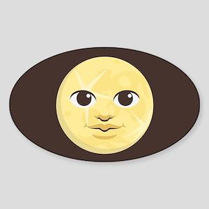 Yellow Moon Emoji Sticker (Oval)