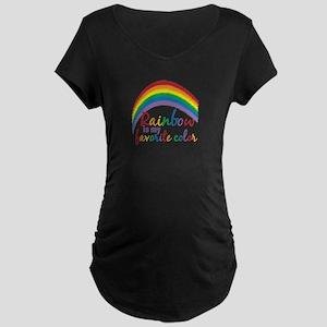 Rainbow Favorite Color Maternity Dark T-Shirt