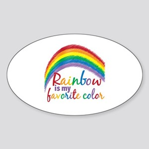 Rainbow Favorite Color Sticker (Oval)