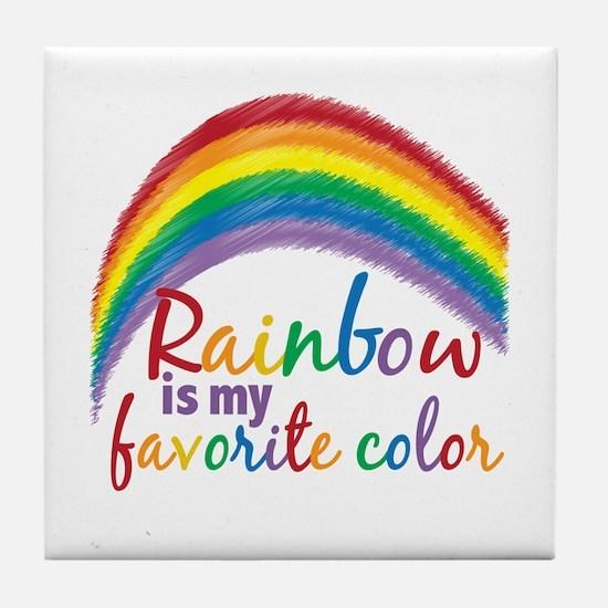 Rainbow Favorite Color Tile Coaster