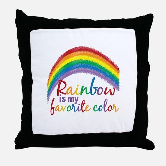 Rainbow Favorite Color Throw Pillow
