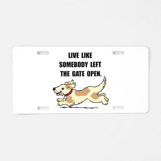 Dog Gate Open Aluminum License Plate