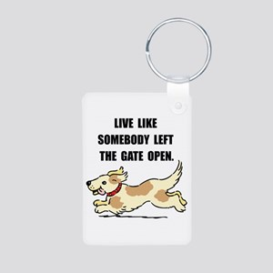 Dog Gate Open Aluminum Photo Keychain