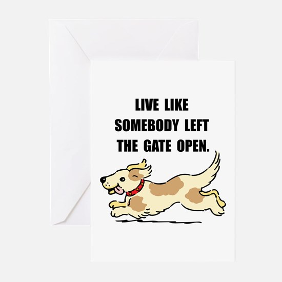 Dog Gate Open Greeting Cards (Pk of 10)