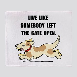 Dog Gate Open Throw Blanket