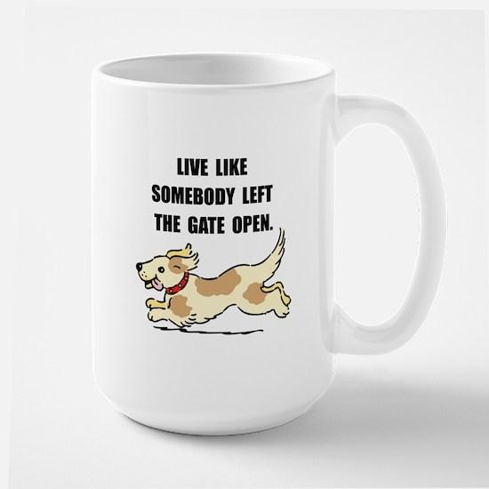 Dog Gate Open Large Mug