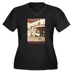 Cinderella Women's Plus Size V-Neck Dark T-Shirt