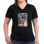 The Vikings Wife and the Frog Women's V-Neck Dark