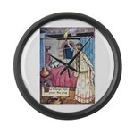 The Vikings Wife and the Frog Large Wall Clock