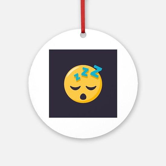 Sleeping Emoji Round Ornament